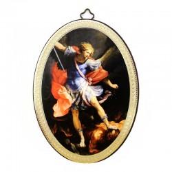 Quadretto ovale San Michele stampa su legno 10x15 cm