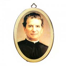 Quadretto ovale San Giovanni Bosco stampa su legno 10x15 cm