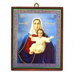 Quadretto Madonna con Bambino stampa oro a caldo 15x18 cm