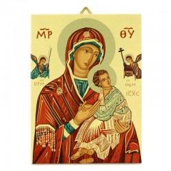 Icona legno Madonna del Perpetuo Soccorso 19x25 cm
