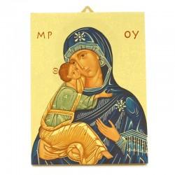 Icona legno Madonna della Tenerezza 19x25 cm