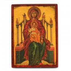 Icona Madonna su Trono stampa su legno 16x22 cm
