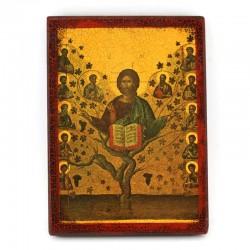 Icona Albero della Vita stampa su legno 16x22 cm