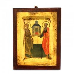 Icona San Pietro e San Paolo stampa su legno 14x18 cm
