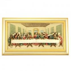 Quadro Ultima Cena resina colorata cornice in legno 53x30 cm