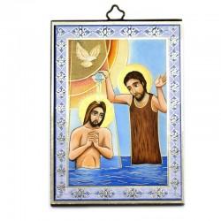 Icona Battesimo di Cristo stampa su legno 10x15 cm
