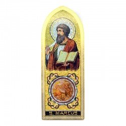 Icon of Saint Mark the Evangelist in wood with dome 10x27 cm