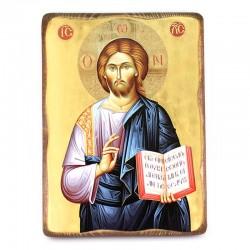 Icona Cristo libro aperto stampa su legno 20x28 cm