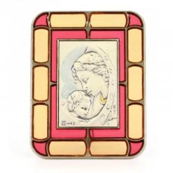 Quadretto vetrata Madonna con Bambino argento rettangolare 8x10 cm