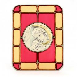 Quadretto vetrata Madonna con Bambino argento circolare 8x10 cm