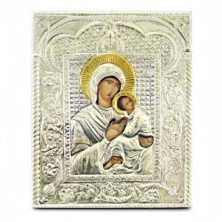 Icona Madonna con Bambino in argento 925°° 25x30 cm