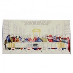 Quadro Ultima Cena allumino colorato 46x23 cm
