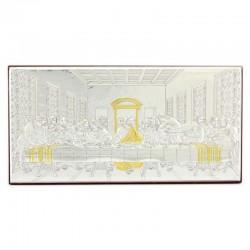 Quadro Ultima Cena allumino decori dorati 22x11 cm