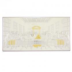 Quadro Ultima Cena allumino decori dorati 46x23 cm
