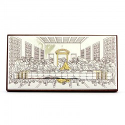 Quadro Ultima Cena allumino decori dorati 9,5x5 cm