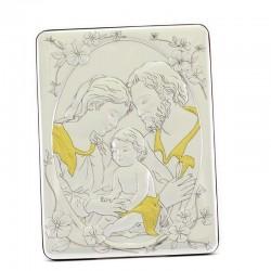 Quadro Sacra Famiglia alluminio decori dorati 17x22 cm