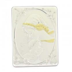 Quadro Madonna con Bambino alluminio decori dorati 25x33 cm