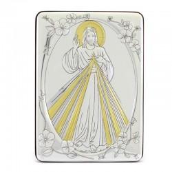 Quadro Gesù Misericordioso alluminio decori dorati 10x14 cm