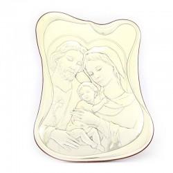 Quadro Sacra Famiglia bilaminato argentato 25x33 cm