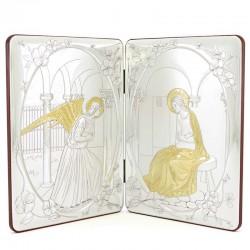 Dittico Annunciazione alluminio decori dorati 34x22 cm