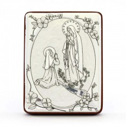 Our Lady of Lourdes Image silvered aluminum 5x6.5 cm