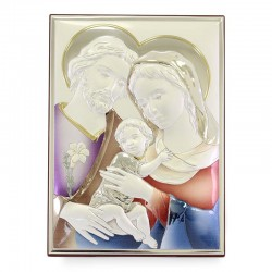 Holy Family picture colored laminated 19x26 cm