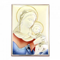 Virgin with Baby Picture in colored laminate 19x26 cm