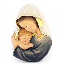 Placca Madonna con Bimbo legno a rilievo 25x35 cm