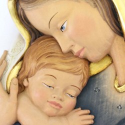 Madonna with Child wooden relief plaque 25x35 cm