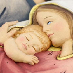 Holy Family wooden relief plaque 23x35 cm