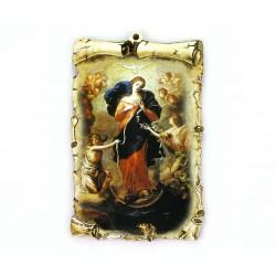 Quadretto pergamena Maria che scioglie i nodi 10x15 cm