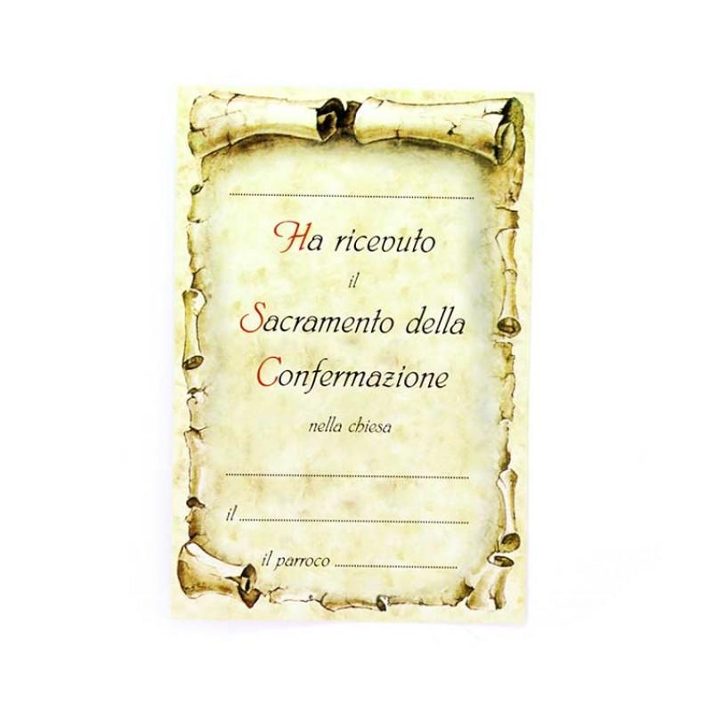 Eccezionale pergamena Santa Cresima 10x15 cm DT98