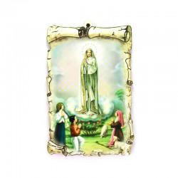 Quadretto pergamena mdf con oro a caldo Madonna di Fatima 10x15 cm
