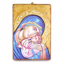 Icona Madonna della Tenerezza-A legno con strass 18x26 cm