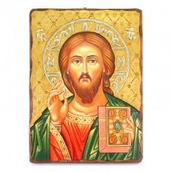 Icona Cristo Pantocratore legno con strass 30x40 cm