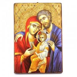 Icona Sacra Famiglia legno con strass 30x40 cm