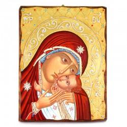 Icona Madonna della Tenerezza legno con strass 30x40 cm