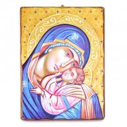 Icona Madonna della Tenerezza-A legno con strass 30x40 cm