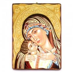 Icona Madonna della Tenerezza-B legno con strass 30x40 cm