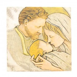 Quadro Sacra Famiglia resina colorata 32x32 cm
