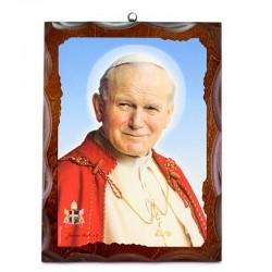 Quadro San Giovanni Paolo II stampa su legno 30x40 cm