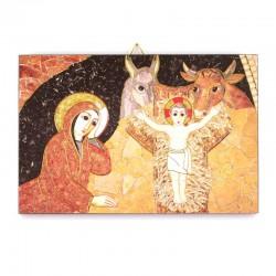 Quadretto Natività di Gesù Rupnik legno 10,6x14,5 cm