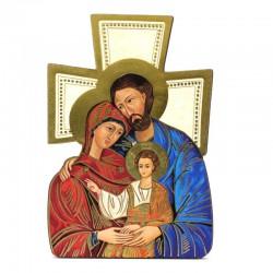 Quadretto Croce Icona Sacra Famiglia 9,5x14 cm