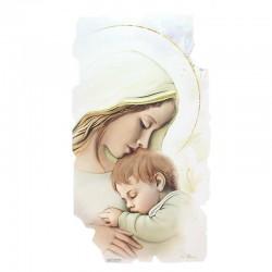 Quadro frammento Maternità legno colorato 28x50 cm