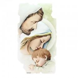 Quadro frammento Sacra Famiglia in legno colorato 28x50 cm