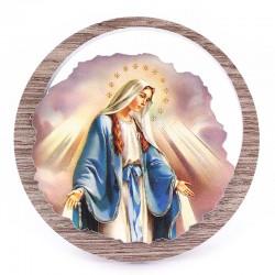 Quadretto Madonna Miracolosa in legno Diametro 11 cm