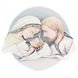 Quadretto Sacra Famiglia fondo celeste 17,5x15 cm