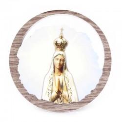 Quadretto Madonna di Fatima in legno Diametro 11 cm