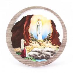 Quadretto Madonna di Lourdes in legno Diametro 11 cm