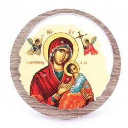 Quadretto Madonna del Perpetuo Soccorso in legno Diametro 11 cm